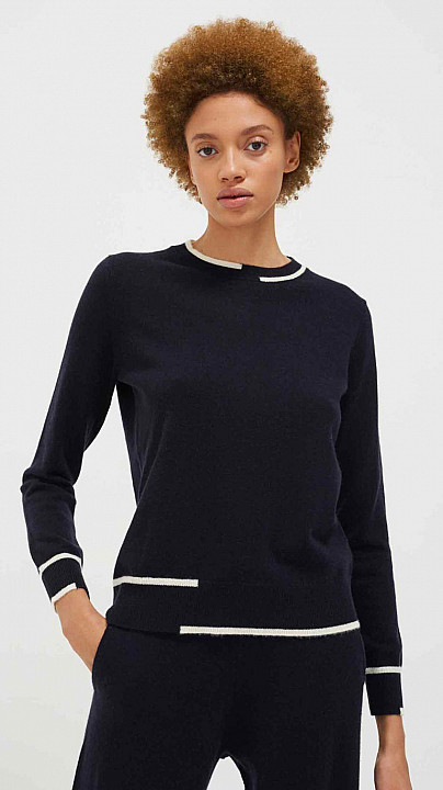 Chinti and Parker Intarsia Sweater Navy