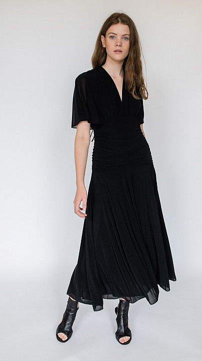 DVF Flutter Sleeve Cinched Waist Midi Dress Black