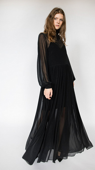 DVF High Neck Maxi Dress Black