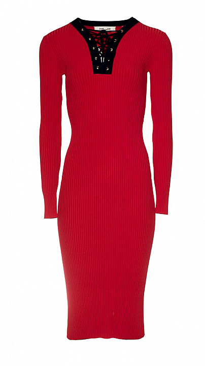 DVF Lace Up Sweater Dress cherry