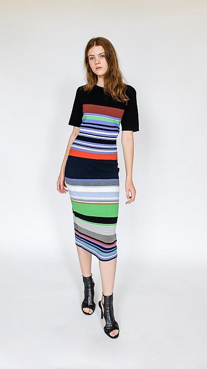 DVF Soft Shoulder Sweater Dress Black Multi