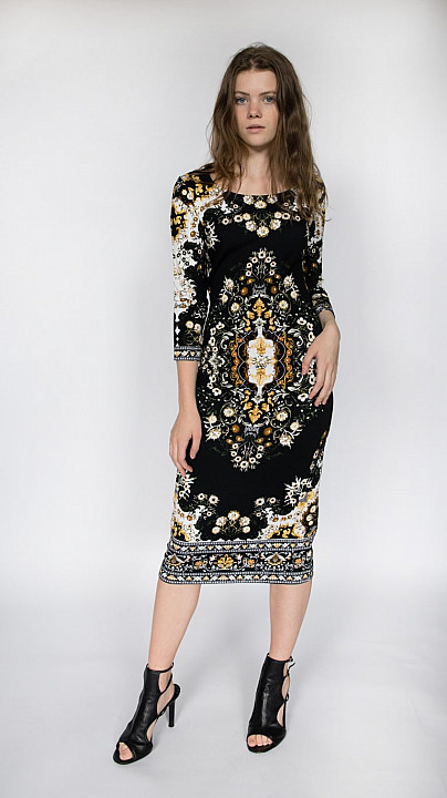 Mary Katrantzou Pluto Jersey Dress Carpet Black