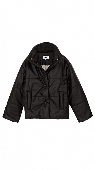 Nanushka Hide Puffer Coat Black