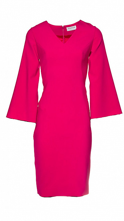 Osman Kimono Sleeve Cocktail Dress Fuchsia