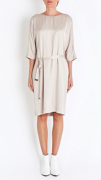 Tie Dress in Taupe