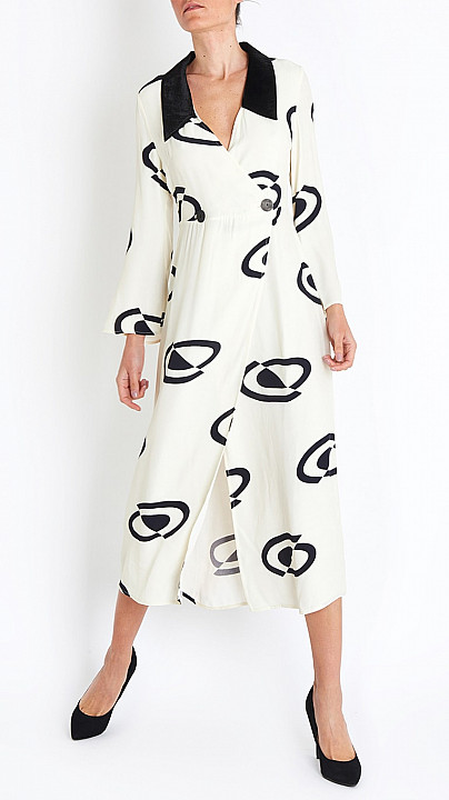 Luna Space Age Spot Dress in Black and White