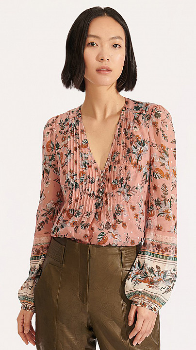 Veronica Beard Lowell Blouse Floral