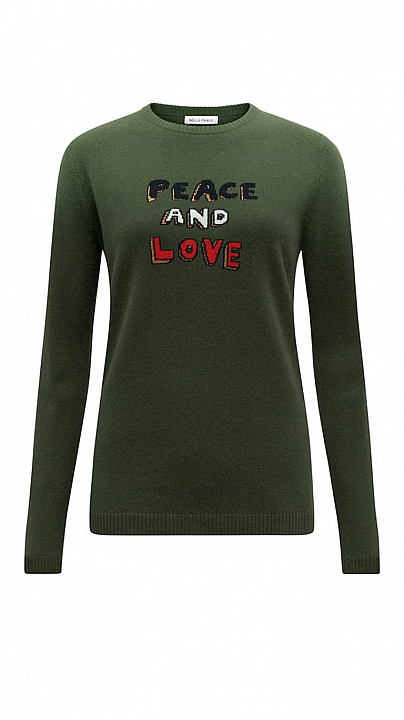 Bella Freud Peace and Love Jumper Khaki
