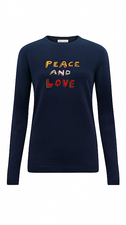 Bella Freud Peace and Love Jumper Navy