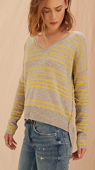 Charli Clove Stripe Sweater Canary and Grey