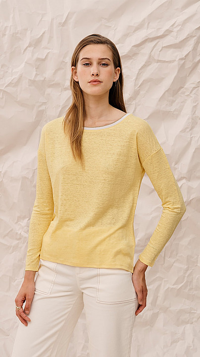 Charli Amber Long-sleeved Top Lemon