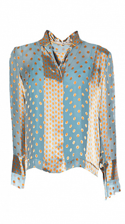 DVF Collared woven blouse Pacific Marigold