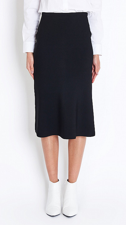 Fluted Knit Skirt in Black