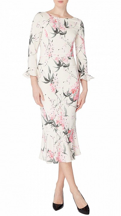 Goat Gigi Pencil Dress Wisteria Print