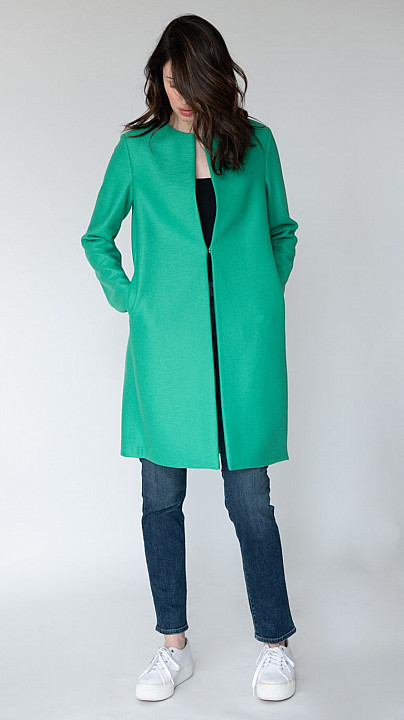 Harris Wharf Collarless Pressed Wool Jade