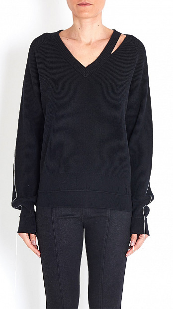 Helmut Lang Distressed Sweater in Black