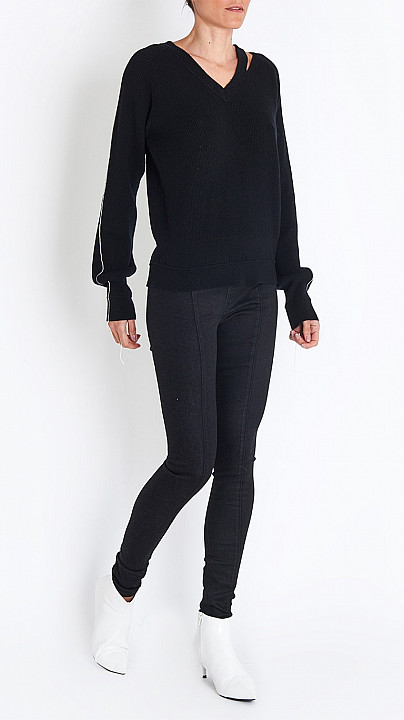 Helmut Lang Seamed Skinny Legging in Black