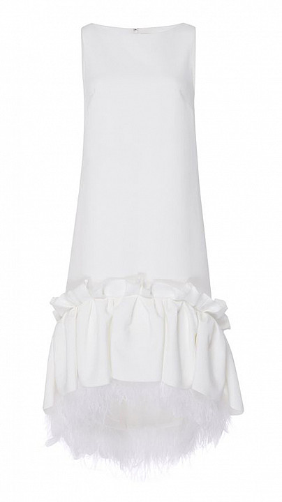 Huishan Zhang Jodie Feather Dress White