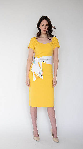 pH15 Fitted Dress Mustard