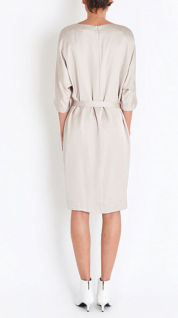 Peserico Tie Dress in Taupe