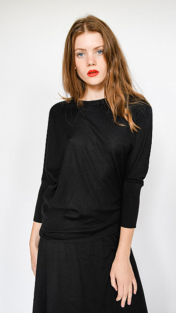 Pringle Round Neck 3/4 Sleeve Jumper Black