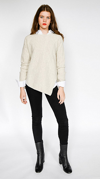 Pringle Round Neck Long Sleeve Jumper Oatmeal