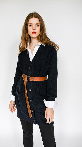 Pringle V Neck Long Sleeve Cosy Cardigan Midnight