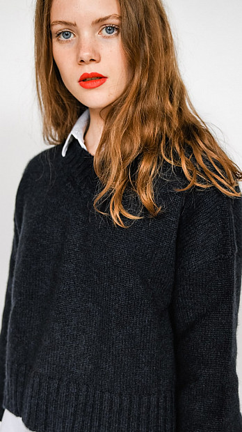 Pringle V Neck Long Sleeve Cosy Jumper Midnight