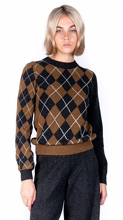 Pringle Patchwork Argyle Sweater Olive