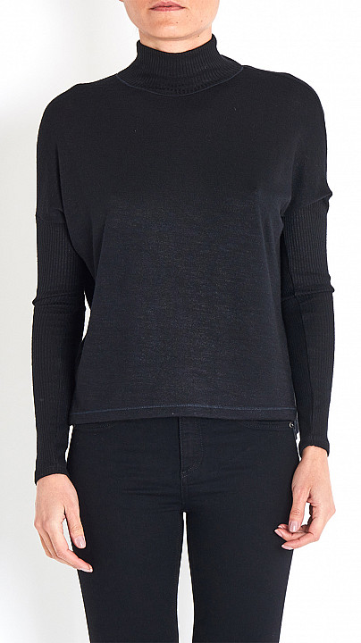 Rag and Bone Amelie Polo Neck Top in Black