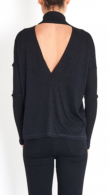 Amelie Polo Neck Top in Black