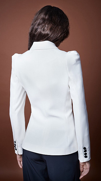 Smythe Box Pleat Blazer in White