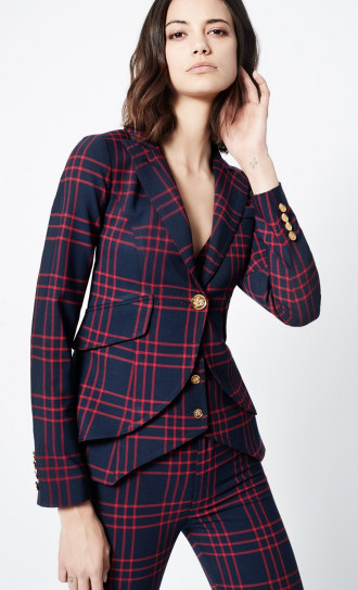 Smythe One Button Blazer Navy Grid