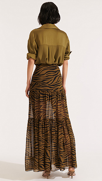 Veronica Beard Serence Skirt Olive